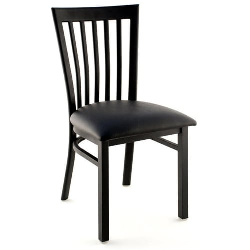 Elongated Vertical Slat Back Metal Chair - Black Finish with a Black Vinyl Seat