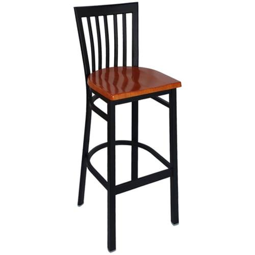 Elongated Vertical Slat Back Bar Stool - Black Frame with a Mahogany Wood Seat