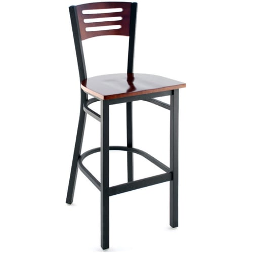 Interchangeable Back Metal Bar Stool with 3 Slats  - Black Frame with a Dark Mahogany Wood Back and Seat