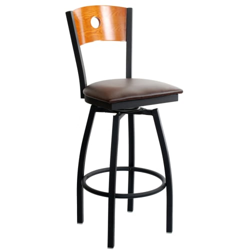 Swivel Metal Bar Stool with a Circled Back - Black Frame with a Cherry Wood Back and a Wine Vinyl Seat