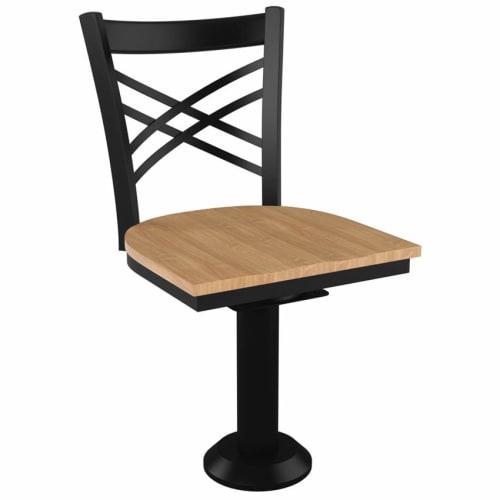 X Back Bolt Down Swivel Metal Chair