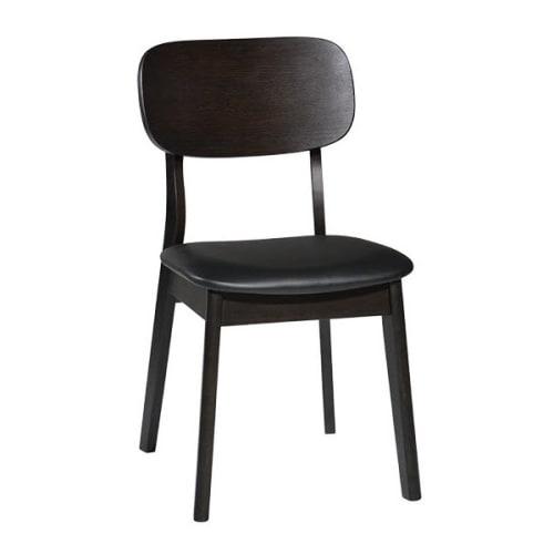 Dark Walnut Wood Chair with Black Vinyl Seat