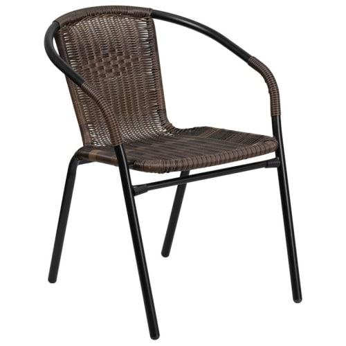 Dark Brown Indoor-Outdoor Rattan Restaurant Chair