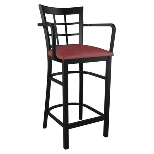 Window Back Metal Bar Stool With Arms