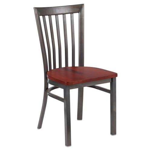 Clear Coat Elongated Back Metal Chair