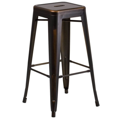 Distressed Bronze Backless Bistro Style Bar Stool