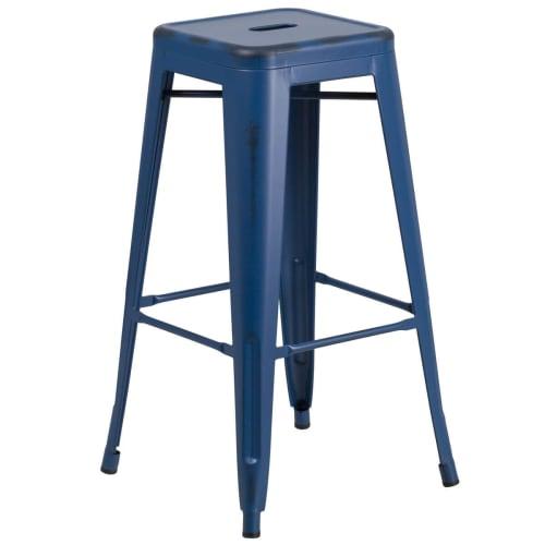 Distressed Dark Blue Backless Bistro Style Bar Stool