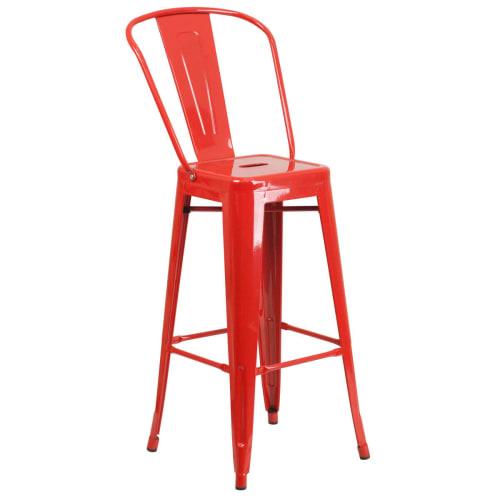 Red Bistro Style Metal Bar Stool