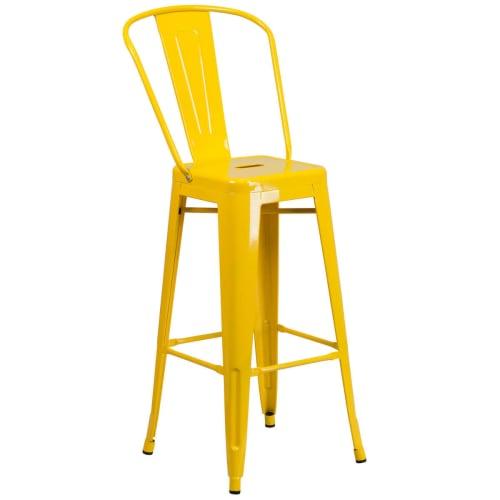 Yellow Bistro Style Metal Bar Stool