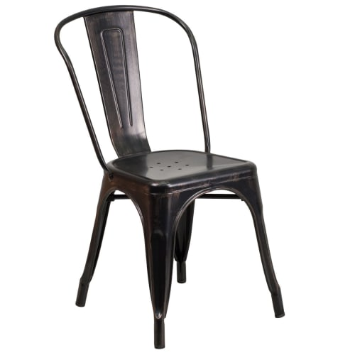 Bistro Style Metal Chair in Black-Antique Gold Finish