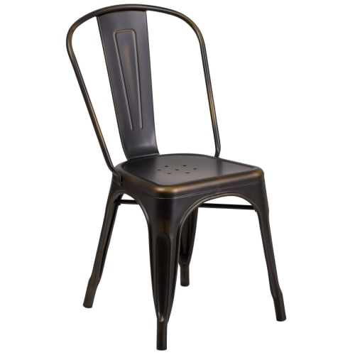 Bistro Style Metal Chair in Distressed Bronze Finish