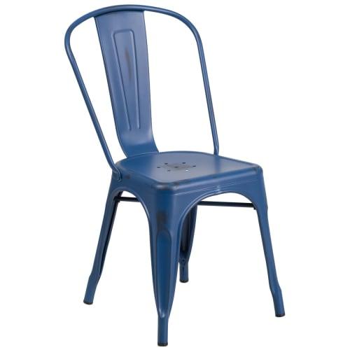 Bistro Style Metal Chair in Distressed Dark Blue Finish