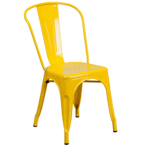 Bistro Style Metal Chair in Yellow Finish