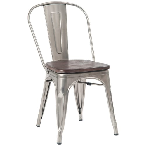 Bistro Style Metal Chair in Clear Finish and Walnut Wood Seat