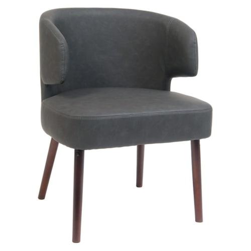 Dark Grey Vinyl Lounge Chair with Mahogany Wood Legs