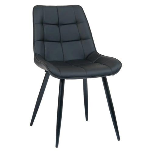 Black Metal Chair with Padded Black Vinyl Upholstery
