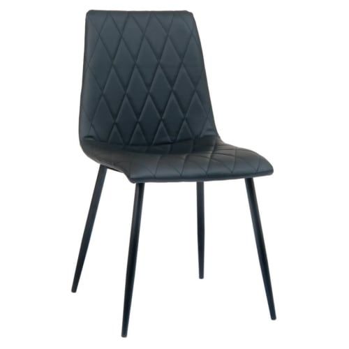 Lars Padded Metal Chair with Black Vinyl Upholstery