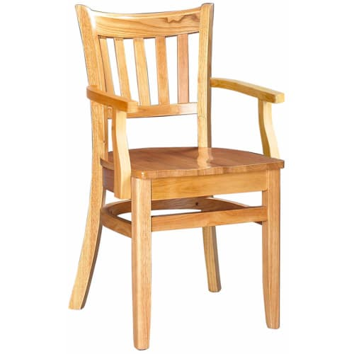 Vertical Slat Wood Restaurant Chair With Arms - Natural Finish with a Wood Seat