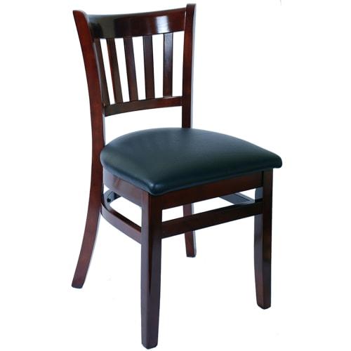 Wood Vertical Slat Restaurant Chair - Dark Mahogany Finish with Black Vinyl Seat