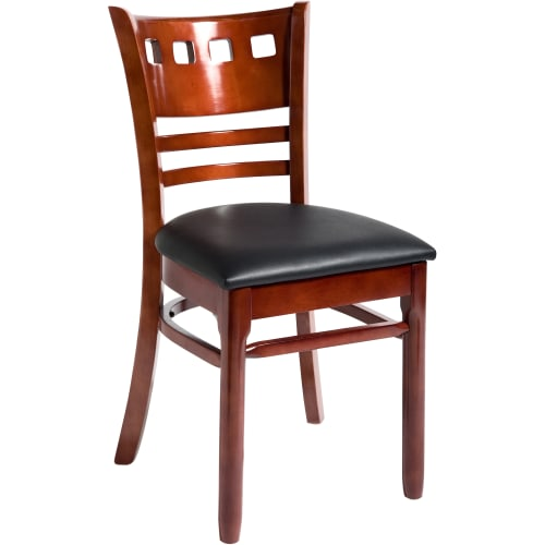 Wood American Back Restaurant Chair - Mahogany Finish with a Wood Seat