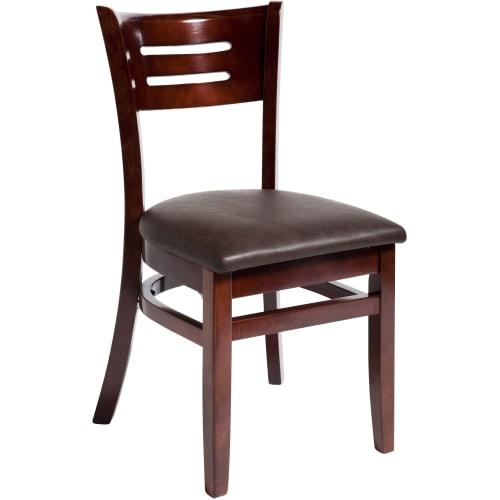 Henry Wood Chair - Dark Mahogany Finish with a Wine Vinyl Seat