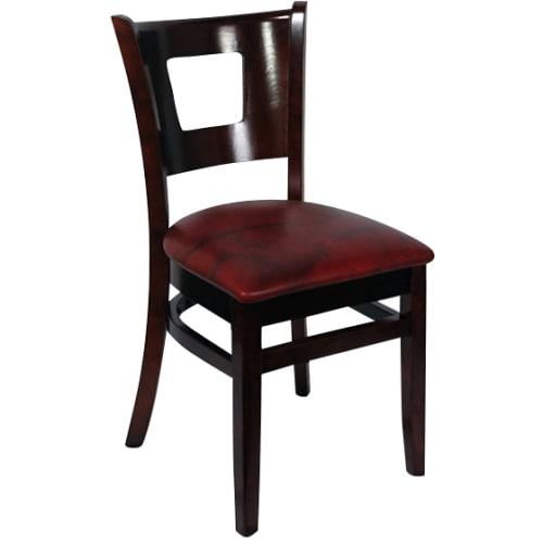 Duna Wood Restaurant Chair - Dark Mahogany Finish with Wine Vinyl Seat