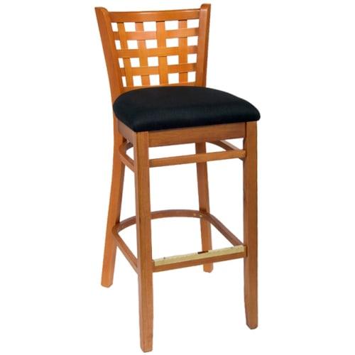 Lattice Back Wood Bar Stool - Natural Finish with a Black Fabric Seat