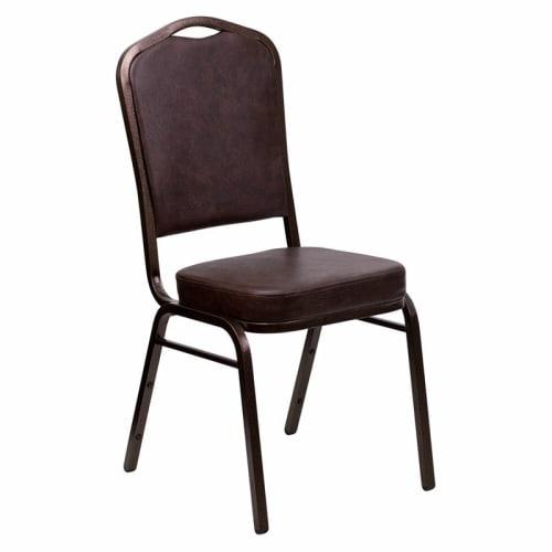 Copper Vein Metal Stack Chair in Brown Vinyl