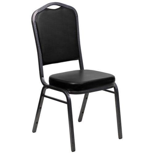 Silver Vein Metal Stack Chair in Black Vinyl