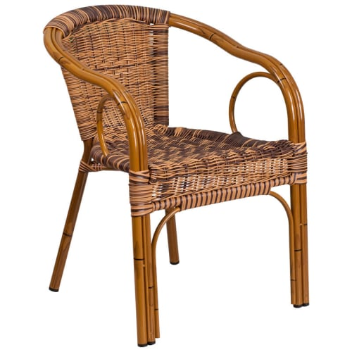 Aluminum Bamboo Patio Chair with Brown Rattan and Cherry Frame Finish
