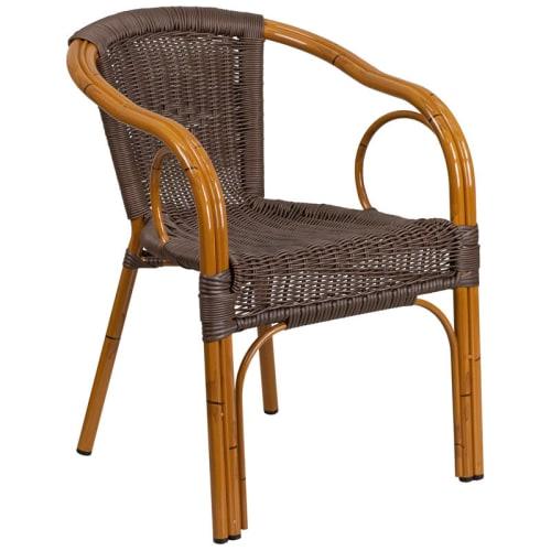Dark Brown Rattan Aluminum Chair with Cherry Frame Finish