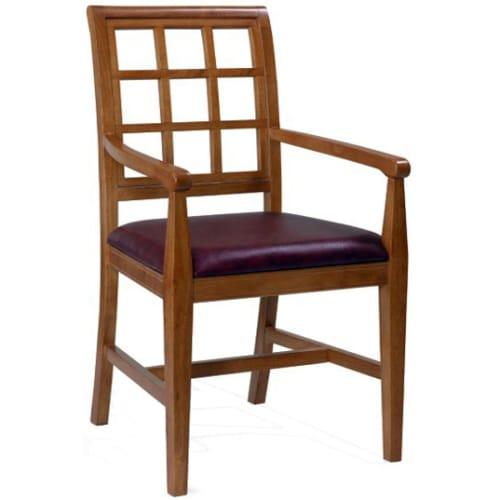 Straight Window Back Wood Arm Chair