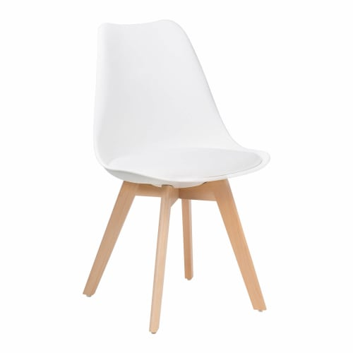 Nordic Style Wood Chair in White