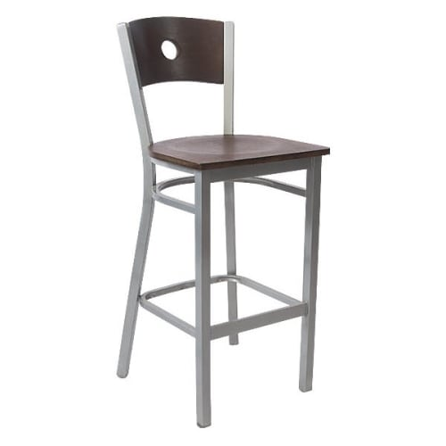 Silver Interchangeable Back Metal Restaurant Bar Stool with Circled Back