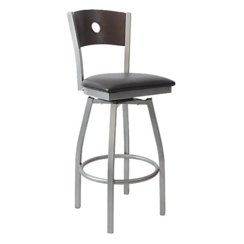Silver Interchangeable Back Metal Swivel Bar Stool with a Circled Back