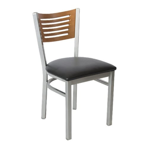 Silver Interchangeable Back Metal Restaurant Chair with 5 Slats