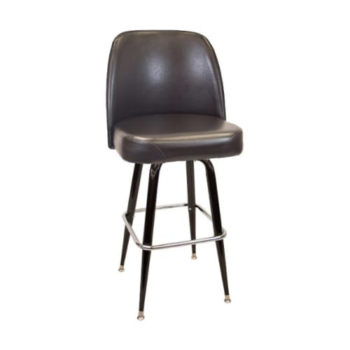 Swivel Bar Stool with Black Coated Frame And Extra Large Seat