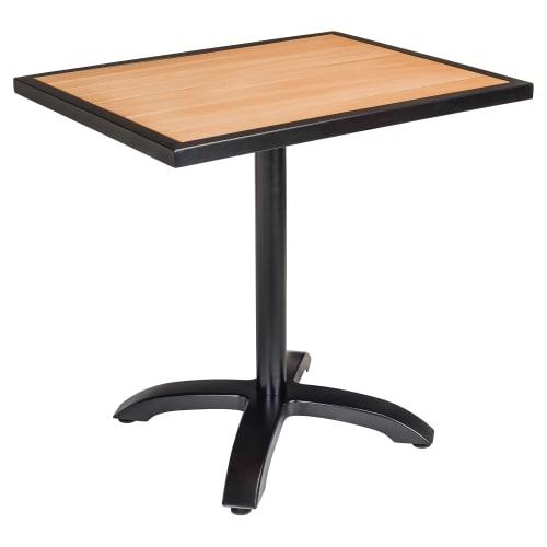 Black Aluminum Patio Table with Plastic Teak Top