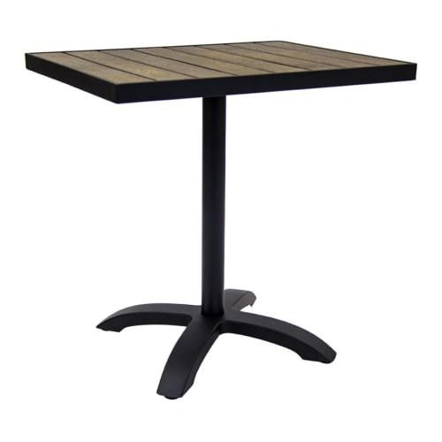 Black Aluminum Patio Table with Dark Walnut Plastic Teak