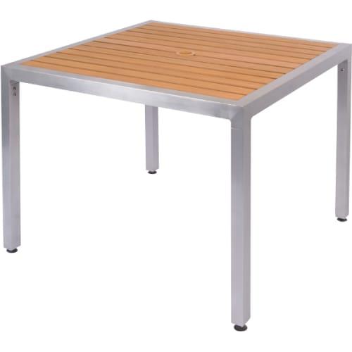 Natural Plastic-Teak Aluminum Patio Table