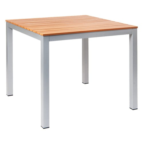 Aluminum Patio Table in Silver Color Finish with Plastic Teak Slats