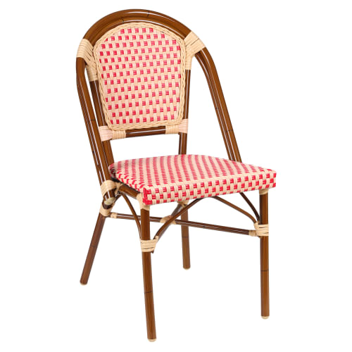 Aluminum Bamboo Patio Chair With Red and Cream Rattan