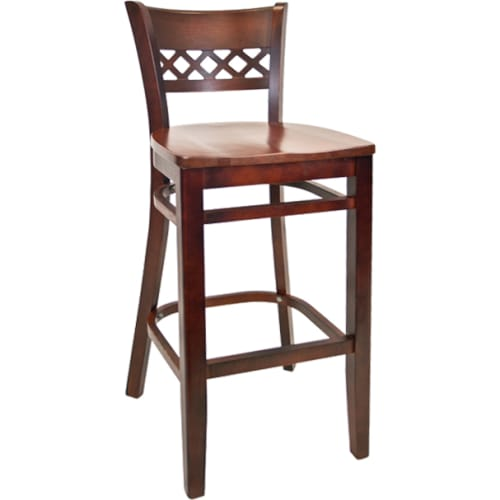 Lauren Beechwood Bar Stool - Dark Mahogany Finish with a Wood Seat