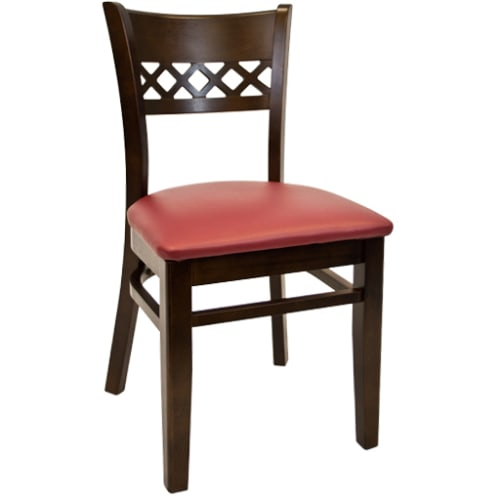 Lauren Beechwood Chair - Walnut Finish with a Red Vinyl Seat