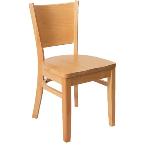 Beechwood Curved Plain Back Chair - Natural Finish with a Wood Seat