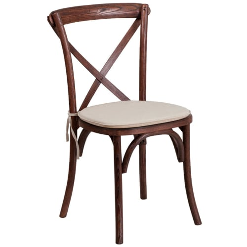 Stackable X Back Wood Restaurant Chair with Cushioned Seat