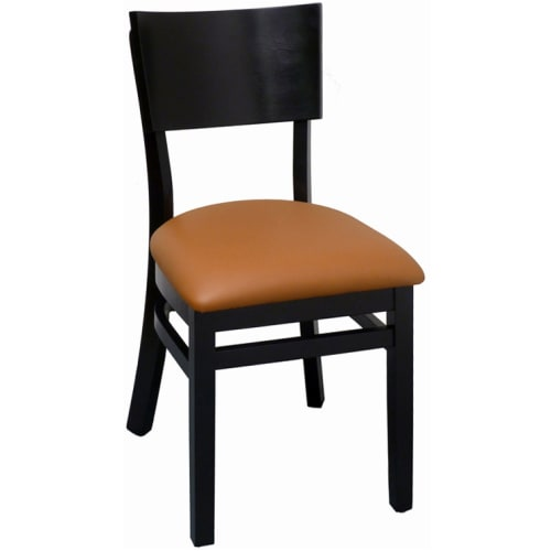 Curved Back Wood Chair -  Black Finish with a Tan Vinyl Seat