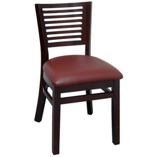 Paris Wood Chair - Dark Mahogany Finish with a Wine Vinyl Seat