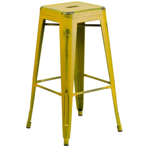 Backless Distressed Yellow Bistro Style Bar Stool