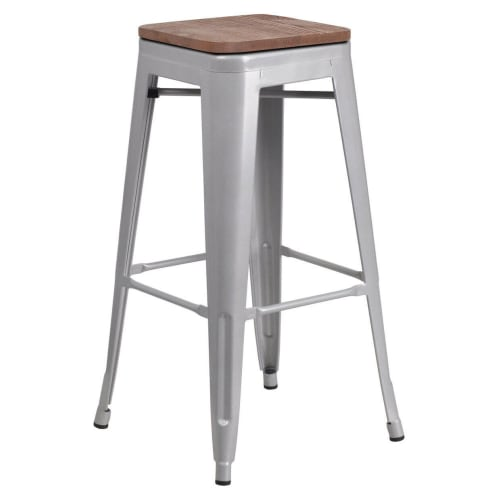 Bistro Style Silver Metal Backless Bar Stool